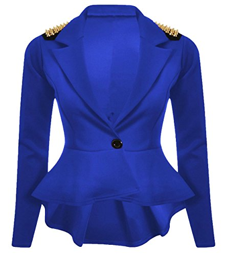 New Womens Plus Size Gold Studded Peplum Blazer Jacket Womens Spike Jacket 8-24 ( Purple , UK 22 / EU 50 ) (Blazer Spikes)