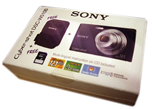 Sony Cyber-Shot dsc-w510b Kamera-Kit schwarz inkl. Kamera 2GB SD Karte und Sony Kamera Fall–UK und EU Netzteil Polaroid-kamera-licht-gelb