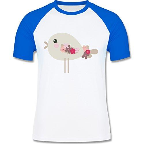 Ostern - Süßer Vogel - Frühlingstiere mit Blumen - zweifarbiges Baseballshirt für Männer Weiß/Royalblau
