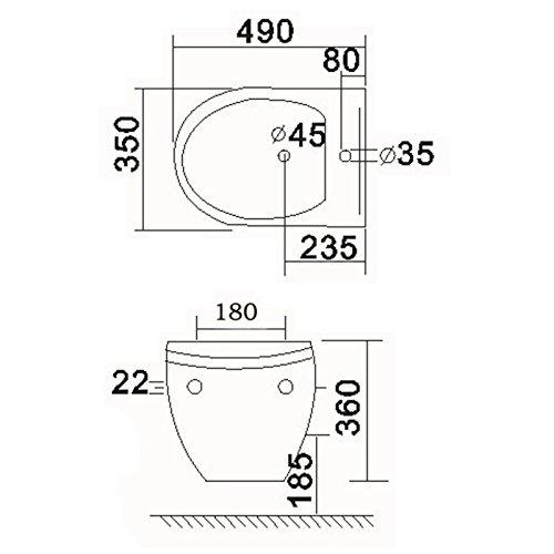 NEG Design Hänge-Bidet Uno09B passend zu Hänge-WC Uno09 - Nanobeschichtung