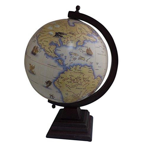 Antique HOME OFFICE Decor Tisch Geographie Earth Globe Ocean Holz Ständer Big drehbar Globe 30,5cm -