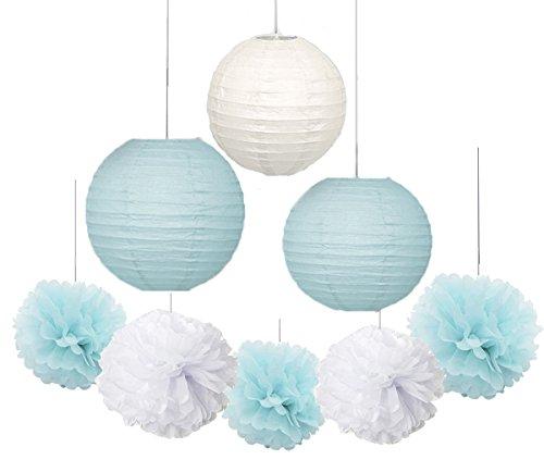 furuix-18-pcs-lantern-decorations-boy-baby-shower-decorations-white-and-baby-blue-mixed-tissue-pom-p