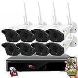 CORSEE H.265+ 8 Canales 1080P Kit Camaras Vigilancia WiFi con 8 1080P Cámaras de Seguridad Visión Nocturna al Aire Libre CCTV Cámaras, Disco Duro De 2TB (1080P Full HD, con función de Audio).
