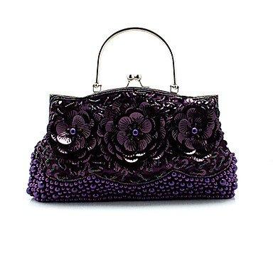 Frauen elegante Hochwertige Blume Pailletten Abend Tasche Ruby