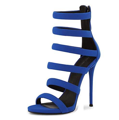 GHFJDO Damen Sandalen, Ladies Platform High Heel Open Peep Toe Stiletto Strappy Heel Multi Strap Wedding Party Abendschuhe,Blue,40EU Heel Strappy Platform Sandalen