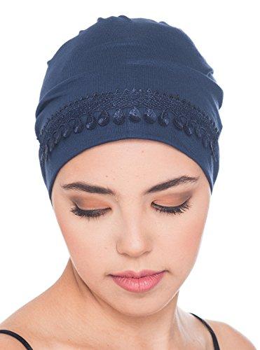 Deresina Headwear Spitzendetails Schlafmütze (Denim)