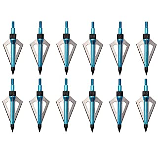 FlyArchery 12 Pack 100 Grain 3 Blade Arrowheads Archery Hunting Boradheads Screw-In Arrow Heads Arrow Tips Compatible with Crossbow and Compound Bow Blue