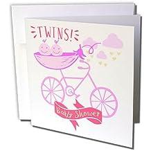 Tarjeta de felicitación 3dRose Twins, Niñas, Baby Shower, Anuncio, Cute Picture,
