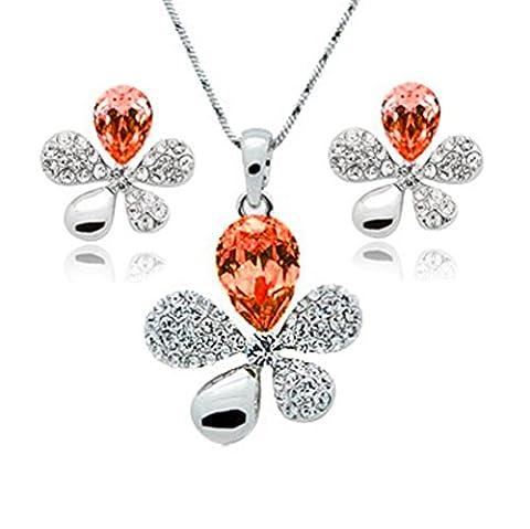 ZIZI Poppy Topaz ~ Flower Necklace and Earring Jewellery Set ~ SWAROVSKI ELEMENTS ~ 18K White Gold Plated - White ZIZI Presentation Box ~ Beautiful Gift