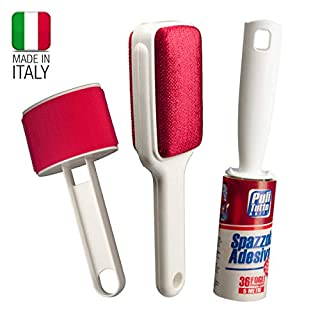 CASA DOLCE CASA Clothes brushes: sticky lint roller with 36 pre-cut sheets (length 5 meters), brush in double velvet, knot-remover brush for wool. All produced in Italy.