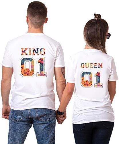 (King Queen Partner T-Shirt Halloween Kürbis Aufdruck Pärchen Couple T Shirts Partner Geschenke für Paar 100% Baumwolle Partnerlook Tshirts Set Valentinstag (Weiß, King-L + Queen-S))