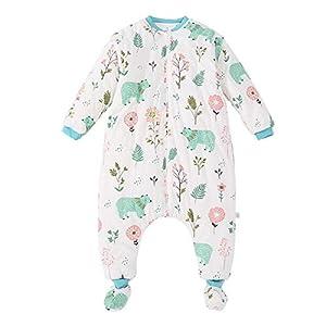 YGZD Saco de Dormir para Bebés con Patas Forrado En Invierno Manga Larga Saco de Dormir de Invierno con Cremallera En La…