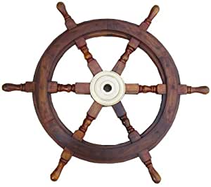 18 wooden ship-wheel - pirate boat nautical by medieval replicas