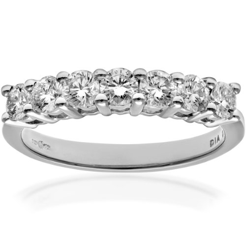 Naava Women's 18 ct White Gold Eternity Ring, IJ/I Certified Diamonds, Round Brilliant, 0.75ct, White Gold, L