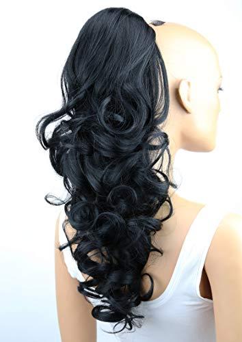 PRETTYSHOP 55cm Haarteil Zopf Pferdeschwanz Haarverdichtung Haarverlängerung VOLUMINÖS schwarz #1 PH9