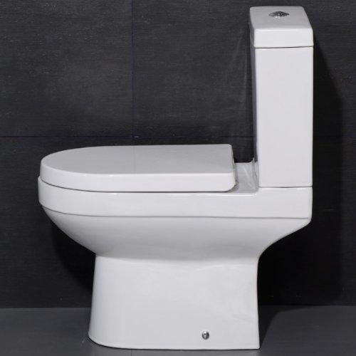 WC Toilet Pan Modern Ceramic Close Coupled Compact Water Saving Cistern - White