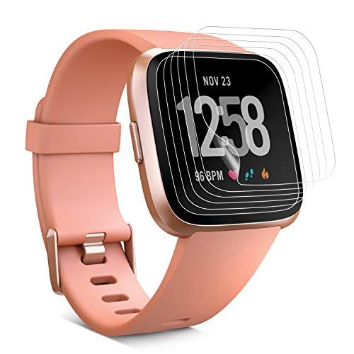 PEYOU 6 Stück Schutzfolie für Fitbit Versa, Vollständige Abdeckung [Wet Applied] [Anti-Kratz] [Blasenfrei] HD PBA Weich Folie Screen Protector Navigation Screen Protector