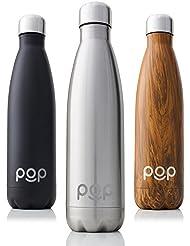 Botella de Agua de POP Design   Mantiene bebidas frías por 24h y calientes por 12h.   Acero inoxidable con aislamiento en vacío   Tapón anti goteo y anti sudor   Libre de BPA   750 ML   Titanio