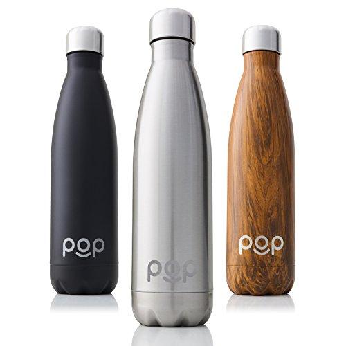 POP Vakuumisolierte Thermosflasche aus Edelstahl Design | Hält Getränke bis zu 24h kühl und bis zu 12h heiß | Trinkflasche ist Auslaufsicher und Schwitzt Nicht | BPA Frei | 500ml | Titanium