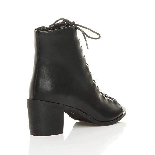 Donna blocchetto tacco medio aperte a punta stringhe sandali stivaletti numero Nero Opacoa