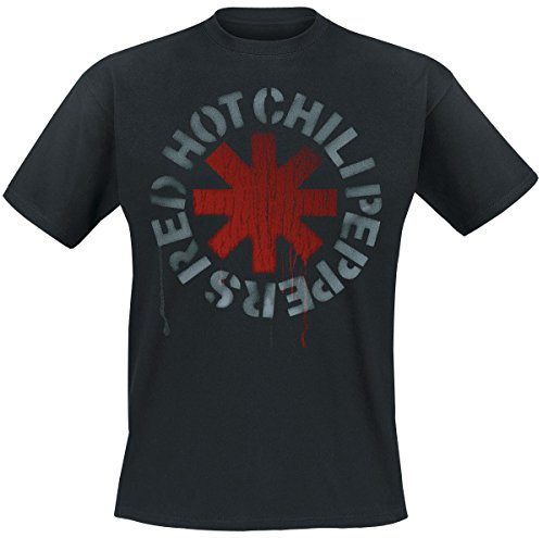 Red Hot Chili Peppers Stencil Black Camiseta Negro M