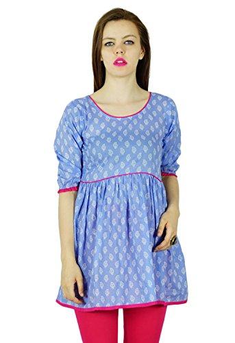 Bimba femmes Coton Bleu Tunique Indien Blouse 3/4 Kurti Manches Kurta Bleu