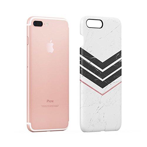 White Marble & Black Marble Stripe Chevron Dünne Rückschale aus Hartplastik für iPhone 7 Plus & iPhone 8 Plus Handy Hülle Schutzhülle Slim Fit Case cover Black Lines