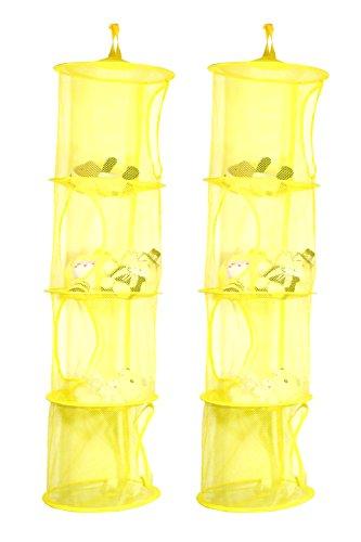 TIRSU 2 Stück gelb Mesh-hängender Speicher-Korb , Hängeaufbewahrung ,4 Fächer zusammenklappbare Network Storage Raum speichern Beutel-Organisator für Spielzeug, Kleidung usw.Lz0001-yellow-4tr