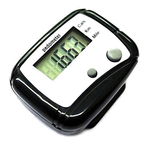 YSHTAN Digitaler Schrittzähler, Schrittzähler, Schrittzähler, Schrittzähler, Kalorienzähler, Gehdistanz, Taschen-Clip, Schwarz