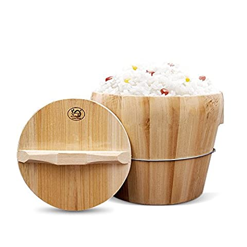 HUANGYIFU Natural Wooden Barrel Bucket for Steaming Rice + Wood Handle Lid