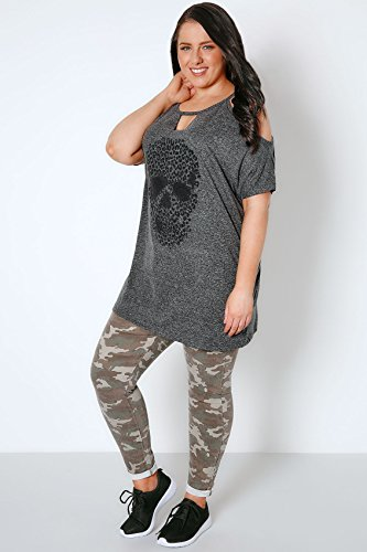 Yours Clothing - Polo - Manches Courtes - Femme gris gris Gris