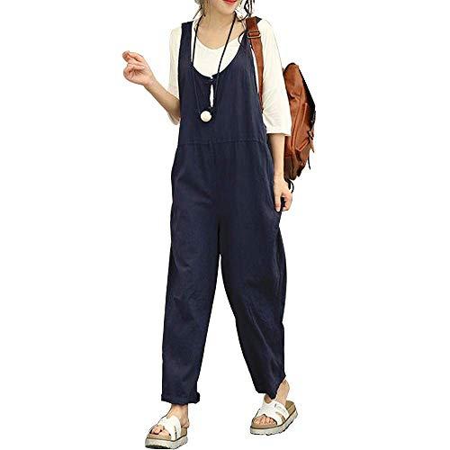 Damen Frauen Retro Latzhose Lässig Insgesamt Baggy Jumpsuits, Morbuy Leinen Taschen Playsuit Hose Lange Harem Casual Overalls Täglichen Trousers Pants (L,Marine)