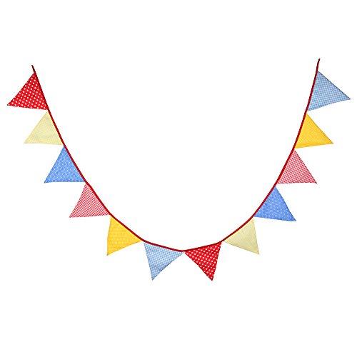 Dosige Wimpelkette Wimpel Girlande Dreieck Banner Party Deko Fahne aus Baumwolle mit 12 Stück Wimpel für Hochzeit Geburtstagsparty Rot Gelb und Blau
