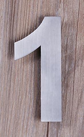 QT Numéro de Maison Moderne - PETIT 10.2 Centimètre - Acier inoxydable brossé (Numéro 1 One), Aspect flottant, facile à installer et fait de solides 304