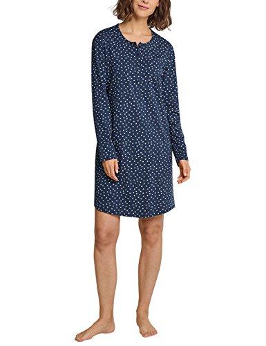 Schiesser Damen Nachthemd Sleepshirt 1/1 Arm, 100cm, Blaugrau gepunktet, 42