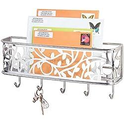 mDesign portachiavi in metallo - Elegante portachiavi da parete ideale per l'ingresso - Portachiavi con vaschetta portacorrispondenza da appendere al muro - argento