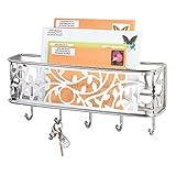 mDesign boîte à clés avec surface de rangement - boîte a clés murale polyvalente en métal pour l'entrée, la cuisine ou le bureau - avec un range-courrier - couleur chrome