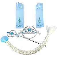 Tante Tina – Conjunto de disfraz de Reina del Hielo / Princesa de la Nieve con varita mágica, corona, trenza y guantes – Aguamarina