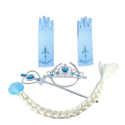 Tante Tina - Set per Costume da Principessa della Nevi provvisto di Bacchetta , Corona, Treccia e Guanti (Acquamarina)