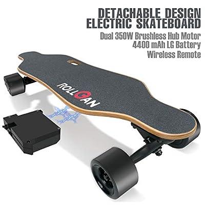 ROLLGAN Batterie abnehmbares elektrisches Skateboard-Doppelmotoren, drahtlose Direktübertragung mit DREI Geschwindigkeits-Modi, abnehmbare Batterie, Energie-Bank[DE Inventar]