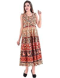 Fashion Store Women's Cotton Casual Multi-Colored Dress(Free Size)