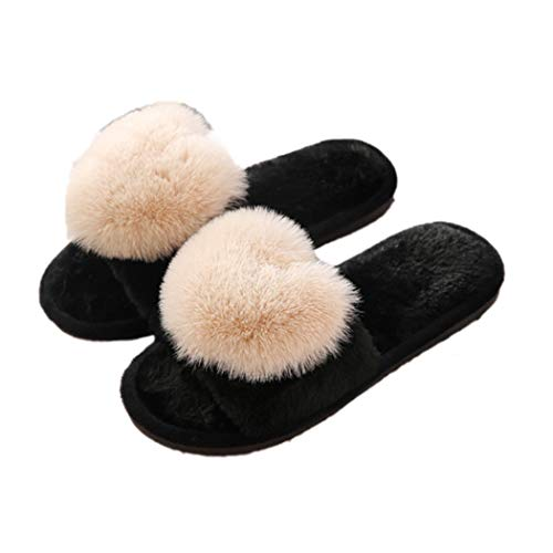 Frauen Winter Hausschuhe Herz Pelz Damen Indoor Outdoor Pelzigen Herbst Warme Plüsch Hause Schuhe