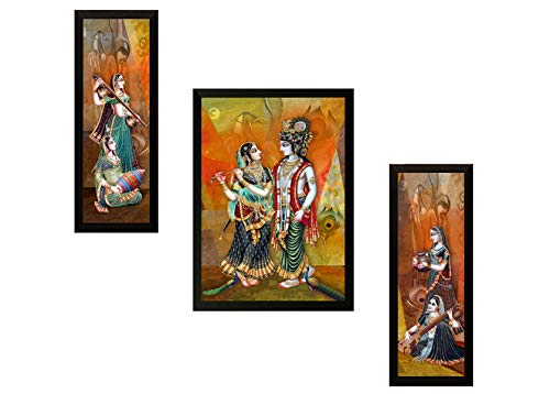 SAF UV Textured Radha Krishna Print Framed Painting (Synthetic, 13.5 inch x 22 inch, Set of 3, SANFSW56)