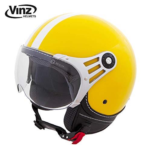 Vinz Rollerhelm Jethelm Fashionhelm | Roller Jet Helm mit Streifen | in Gr. XS-XL | Motorradhelm mit...