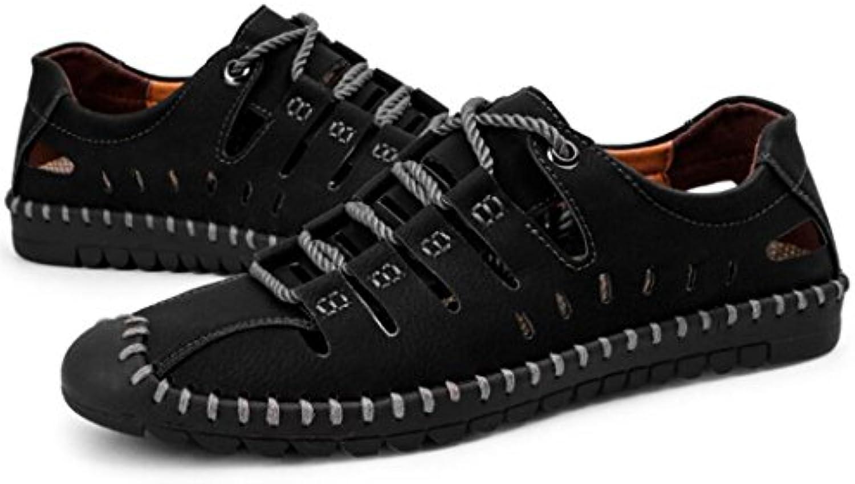 GAOLIXIA Hohlen Breathable Ledersandalen der Männer Sommer Art  und weissestrand Schuhe im Freiensport beiläufige