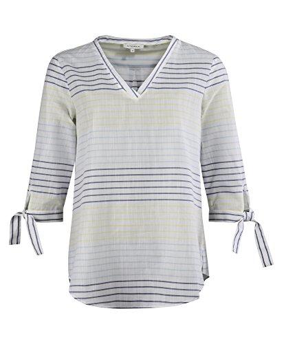 eterna 3/4 Bluse MODERN Classic mit V-Ausschnitt Gelb Blau Grau Gestreift aus 100% Baumwolle, Grösse:36