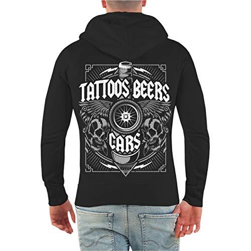 Männer und Herren Kapuzenjacke Benzin im Blut Tattoos Beers Cars (mit Rückendruck) Größe S - 10XL