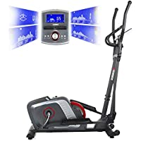 Preisvergleich für Premium HAMMER Crosstrainer Cross-Motion BT – APP Steuerung für Smartphone - Bluetooth Anbindung - 22 Trainingsprogramme - 12 Berg- und Talprofile - 4 Herzprogramme - LCD-Colour-Display - Push & Turn-Drehknopf - Ellipsentrainer - Ergometer - Elektronische