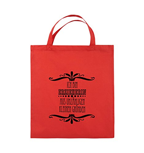 Borse Comiche - Sono Un Educatore - Borsa Di Juta - Manico Corto - 38x42cm - Colore: Nero / Rosa Rosso / Nero