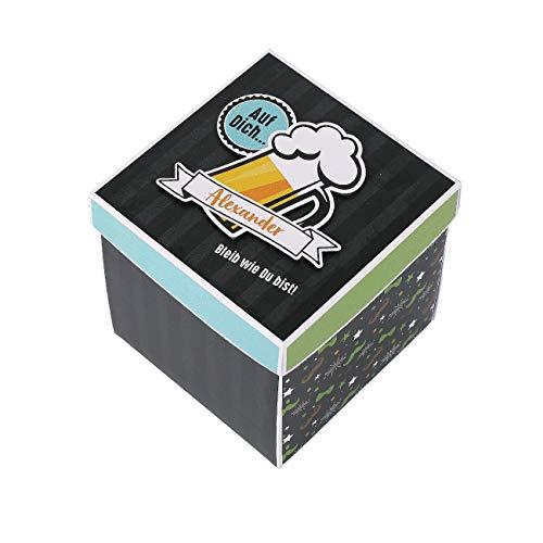 Herz & Heim® Geburtstagsgeschenk für einen Mann in Form Einer Überraschungsbox mit Namen des Jubilars